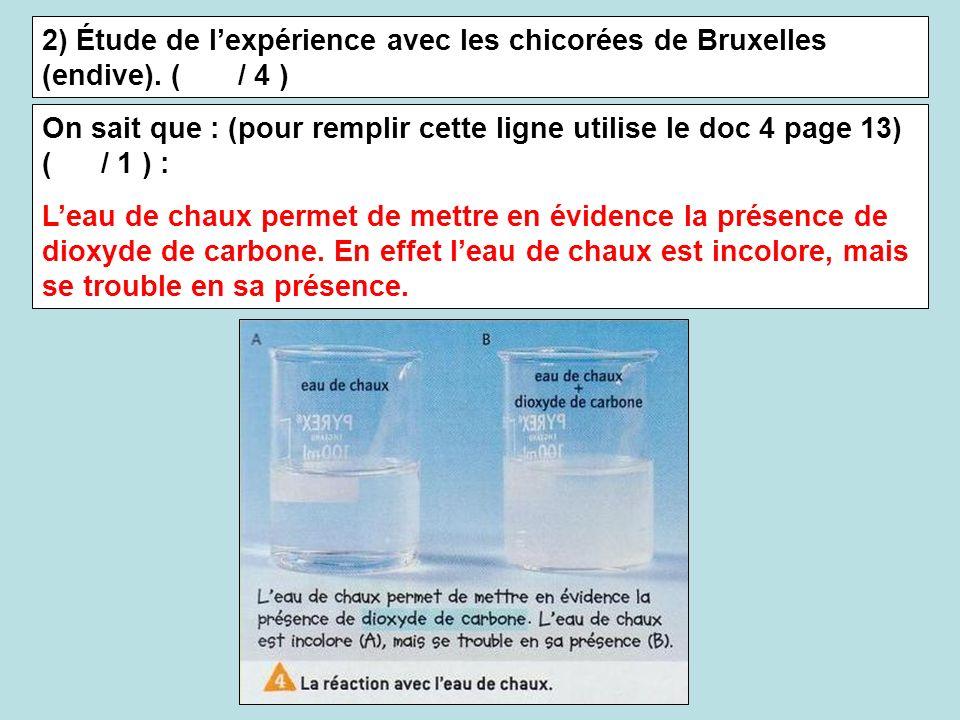2) Étude de lexpérience avec les chicorées de Bruxelles (endive). ( / 4 ) On sait que : (pour remplir cette ligne utilise le doc 4 page 13) ( / 1 ) :