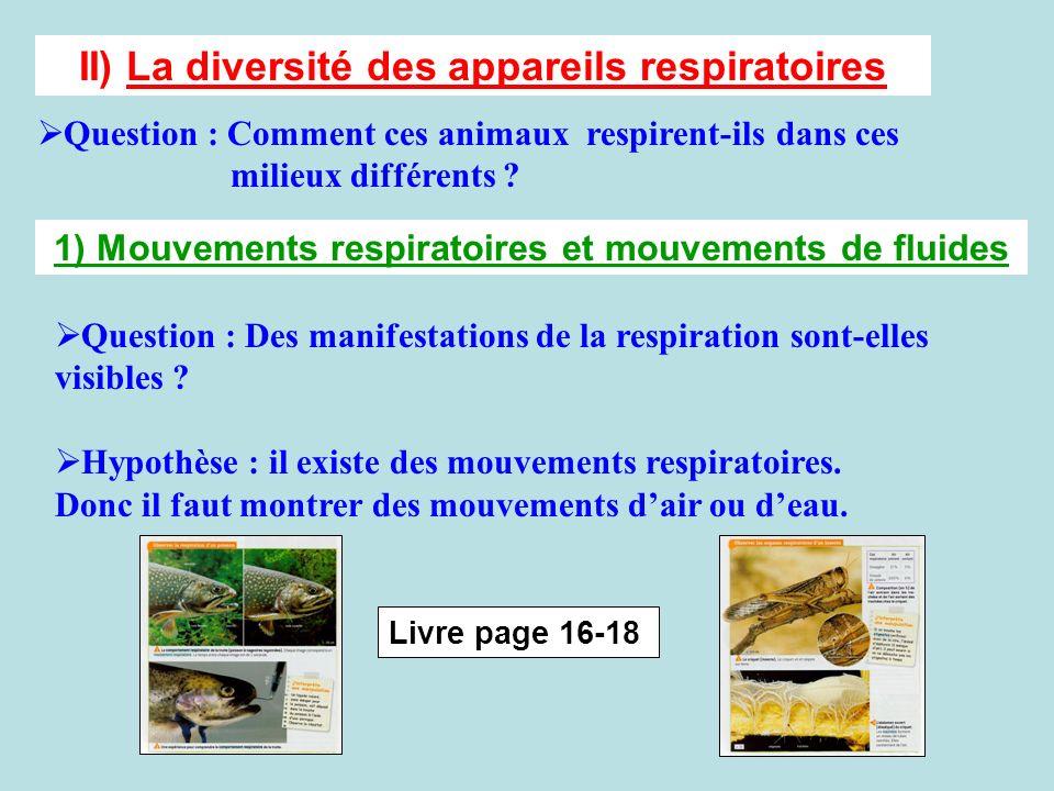 II) La diversité des appareils respiratoires Question : Comment ces animaux respirent-ils dans ces milieux différents ? 1) Mouvements respiratoires et