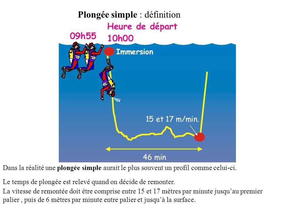 Plongée simple : définition Dans la réalité une plongée simple aurait le plus souvent un profil comme celui-ci.
