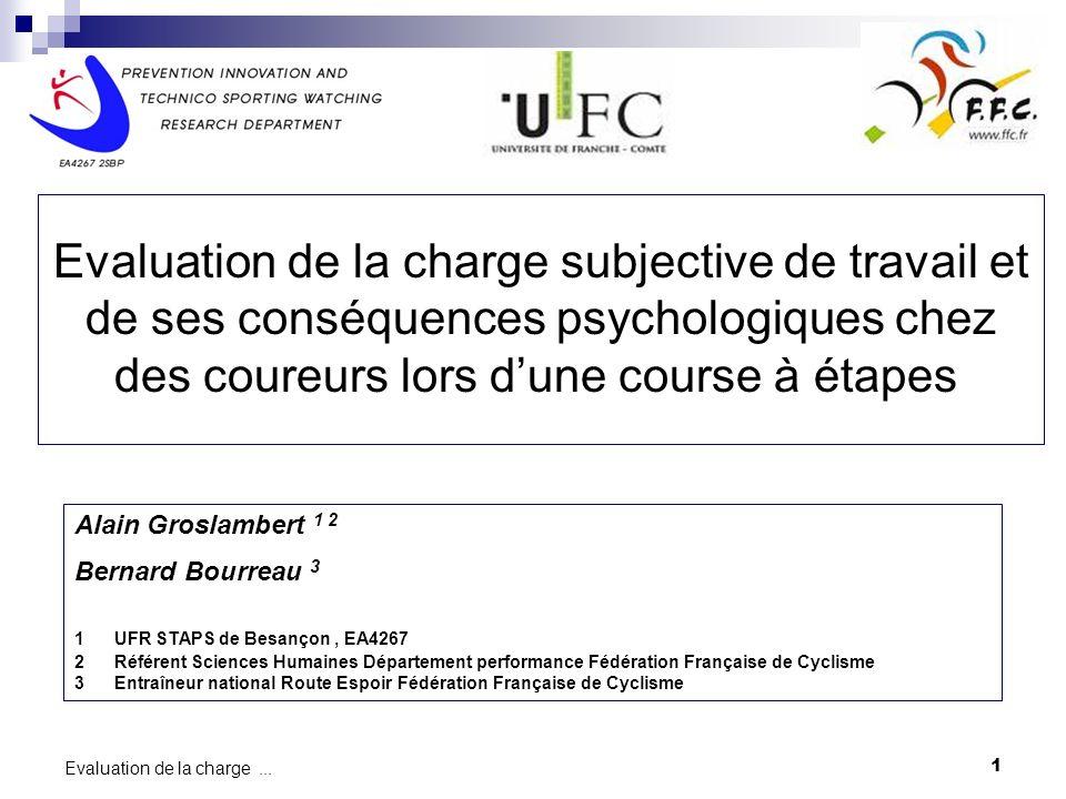 1 Evaluation de la charge... Etude / Projet XXX XXXXXXX Evaluation de la charge subjective de travail et de ses conséquences psychologiques chez des c