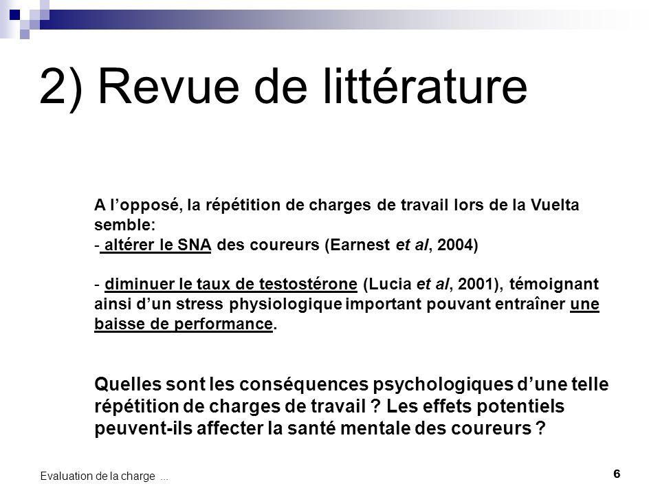 6 Evaluation de la charge... A lopposé, la répétition de charges de travail lors de la Vuelta semble: - altérer le SNA des coureurs (Earnest et al, 20