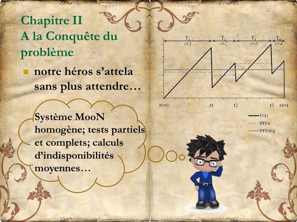 Chapitre II A la Conquête du problème notre héros sattela sans plus attendre… Système MooN homogène; tests partiels et complets; calculs dindisponibilités moyennes…