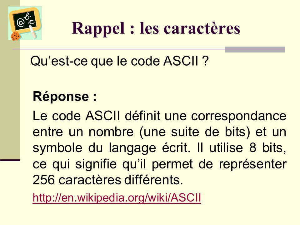 Rappel : les chaînes de caractères Quelle valeur sera retournée lors de lappel suivant : InStr( Frederick , w ) .