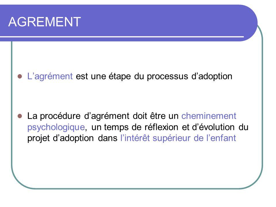 Lagrément est une étape du processus dadoption La procédure dagrément doit être un cheminement psychologique, un temps de réflexion et dévolution du projet dadoption dans lintérêt supérieur de lenfant AGREMENT
