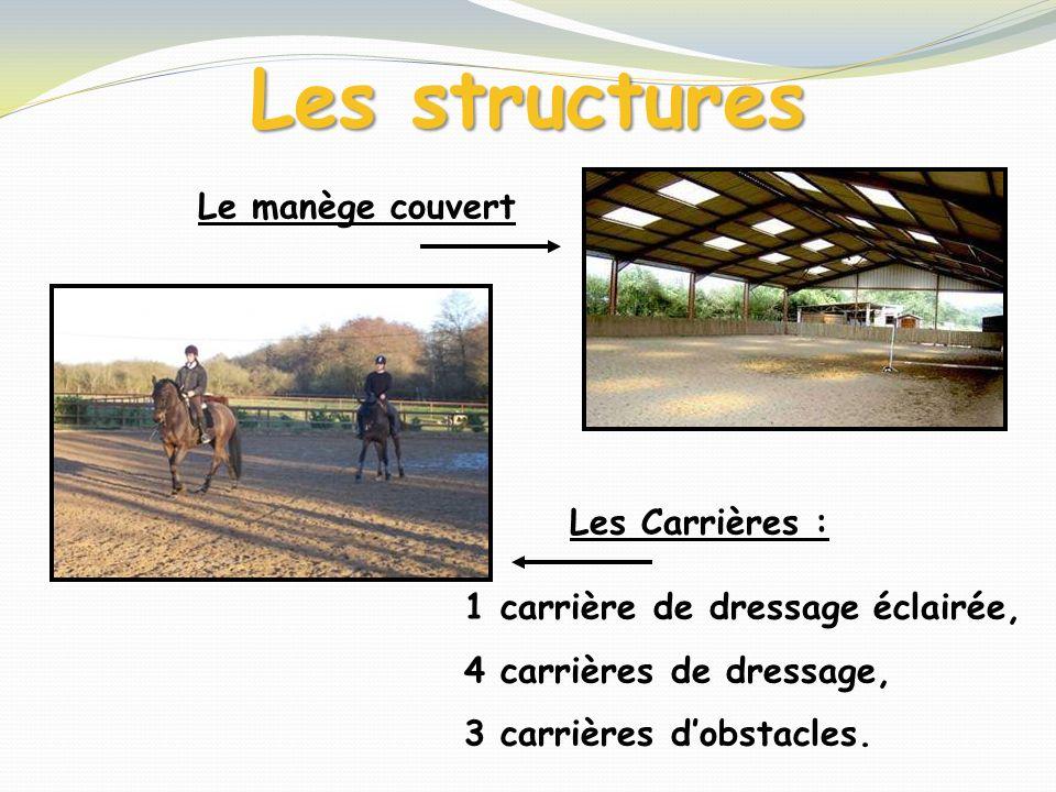 Les structures Les Carrières : 1 carrière de dressage éclairée, 4 carrières de dressage, 3 carrières dobstacles. Le manège couvert
