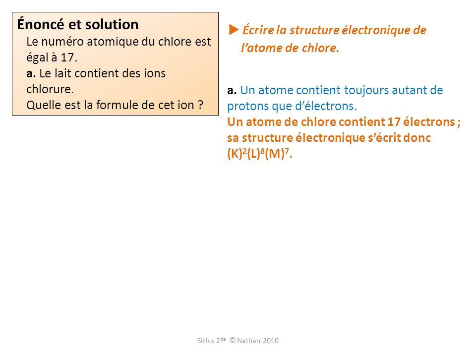 Appliquer la règle de loctet à lélément chlore et vérifier que lion chlorure a pour formule Cl –.
