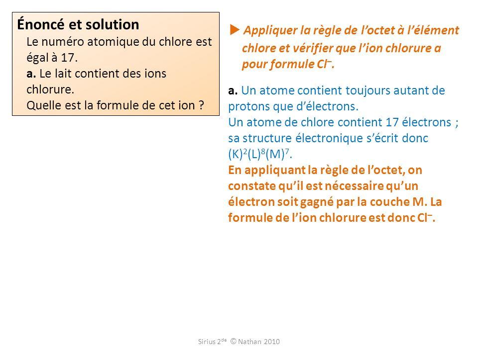 Énoncé et solution Le numéro atomique du chlore est égal à 17.