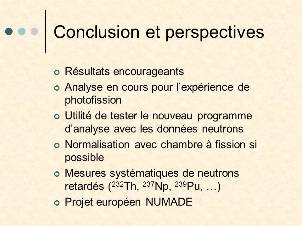 Conclusion et perspectives Résultats encourageants Analyse en cours pour lexpérience de photofission Utilité de tester le nouveau programme danalyse a