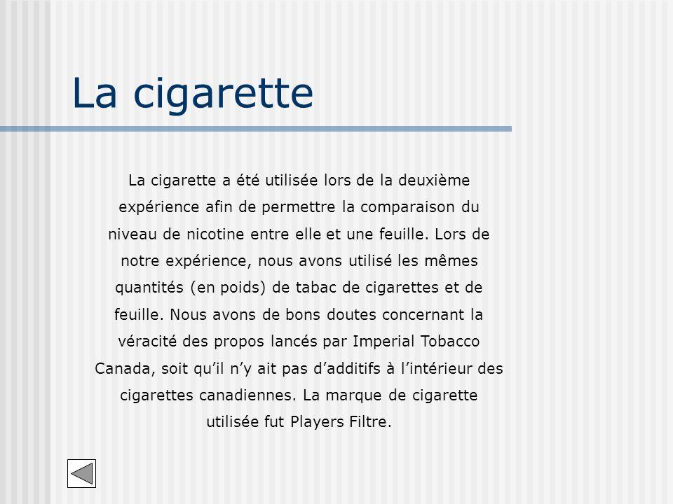 La cigarette La cigarette a été utilisée lors de la deuxième expérience afin de permettre la comparaison du niveau de nicotine entre elle et une feuil