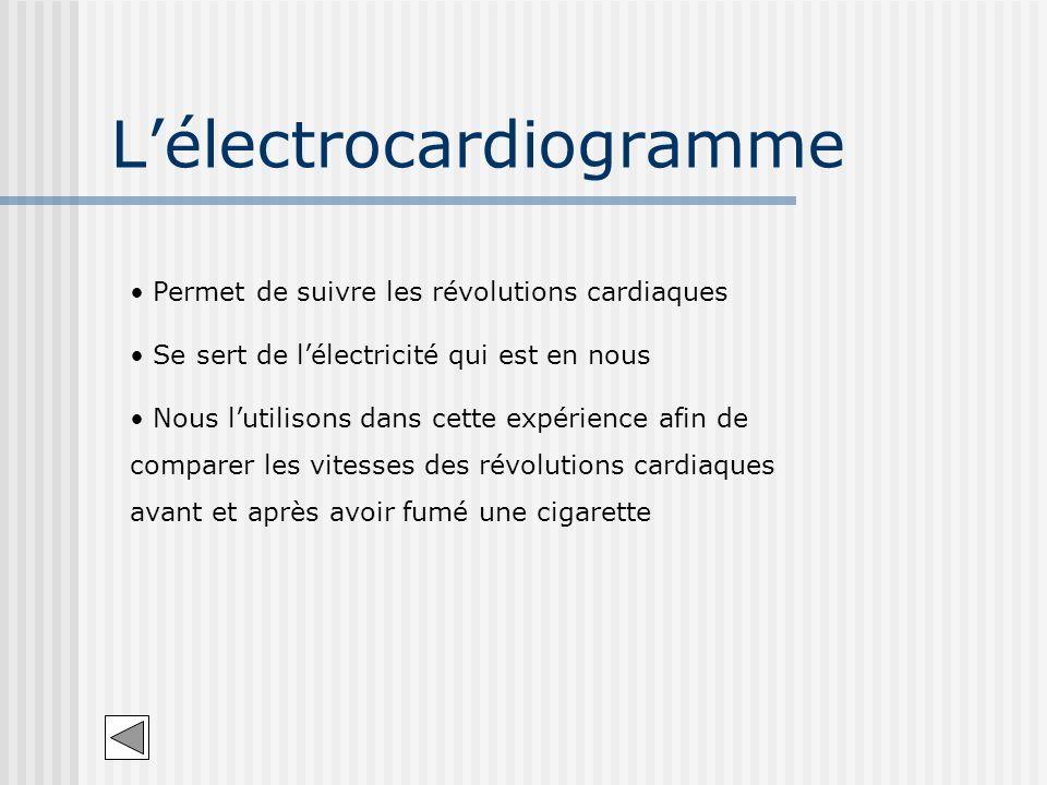 Lélectrocardiogramme Permet de suivre les révolutions cardiaques Se sert de lélectricité qui est en nous Nous lutilisons dans cette expérience afin de