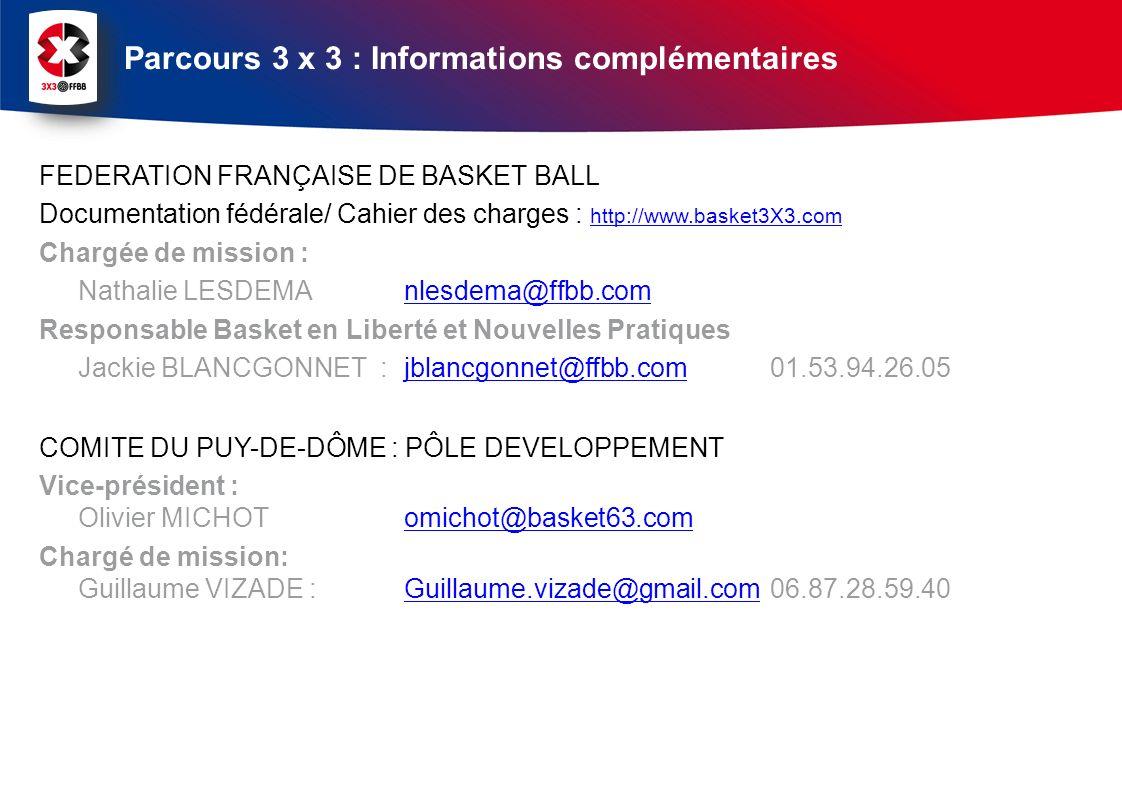 FEDERATION FRANÇAISE DE BASKET BALL Documentation fédérale/ Cahier des charges : http://www.basket3X3.com http://www.basket3X3.com Chargée de mission : Nathalie LESDEMA nlesdema@ffbb.comnlesdema@ffbb.com Responsable Basket en Liberté et Nouvelles Pratiques Jackie BLANCGONNET : jblancgonnet@ffbb.com01.53.94.26.05jblancgonnet@ffbb.com COMITE DU PUY-DE-DÔME : PÔLE DEVELOPPEMENT Vice-président : Olivier MICHOT omichot@basket63.comomichot@basket63.com Chargé de mission: Guillaume VIZADE : Guillaume.vizade@gmail.com 06.87.28.59.40Guillaume.vizade@gmail.com Parcours 3 x 3 : Informations complémentaires