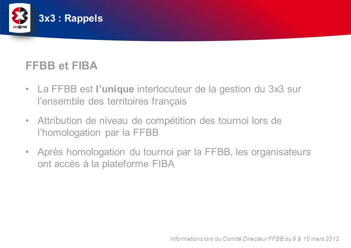 La FFBB est lunique interlocuteur de la gestion du 3x3 sur lensemble des territoires français Attribution de niveau de compétition des tournoi lors de lhomologation par la FFBB Après homologation du tournoi par la FFBB, les organisateurs ont accès à la plateforme FIBA FFBB et FIBA 3x3 : Rappels Informations lors du Comité Directeur FFBB du 9 & 10 mars 2012