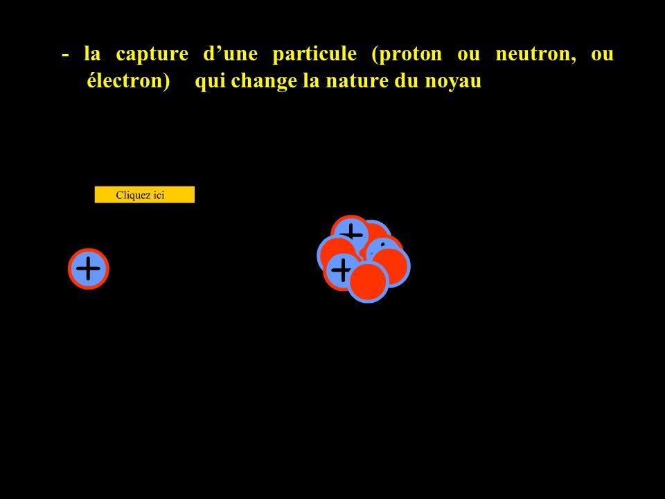- la capture dune particule (proton ou neutron, ou électron) qui change la nature du noyau