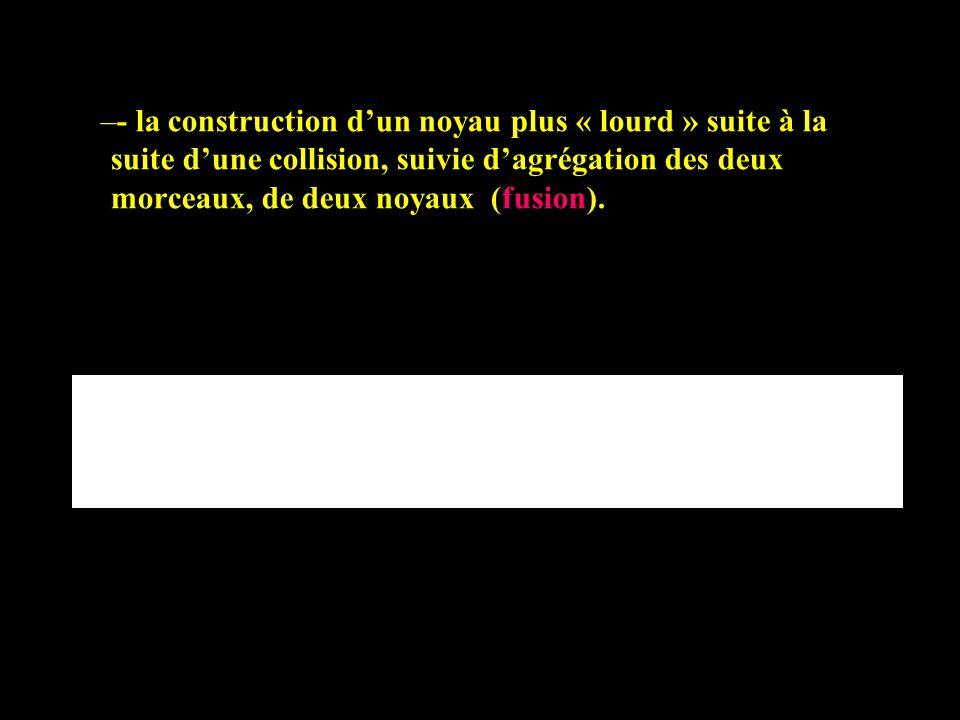 –- la construction dun noyau plus « lourd » suite à la suite dune collision, suivie dagrégation des deux morceaux, de deux noyaux (fusion).