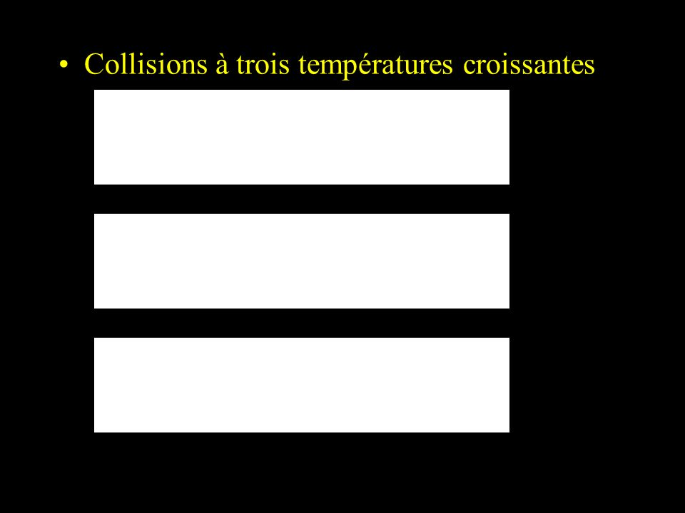 Collisions à trois températures croissantes