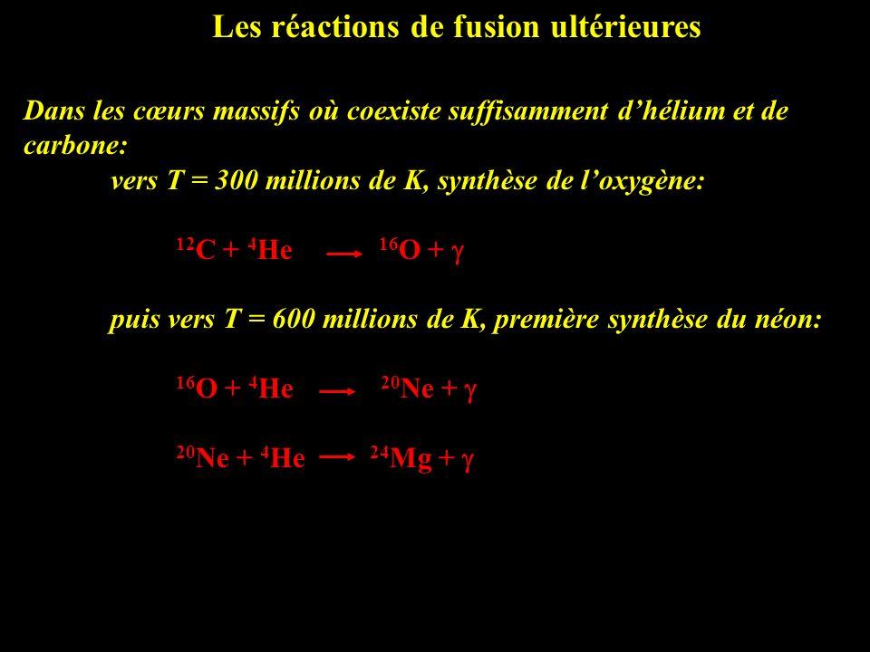 Les réactions de fusion ultérieures Dans les cœurs massifs où coexiste suffisamment dhélium et de carbone: vers T = 300 millions de K, synthèse de lox