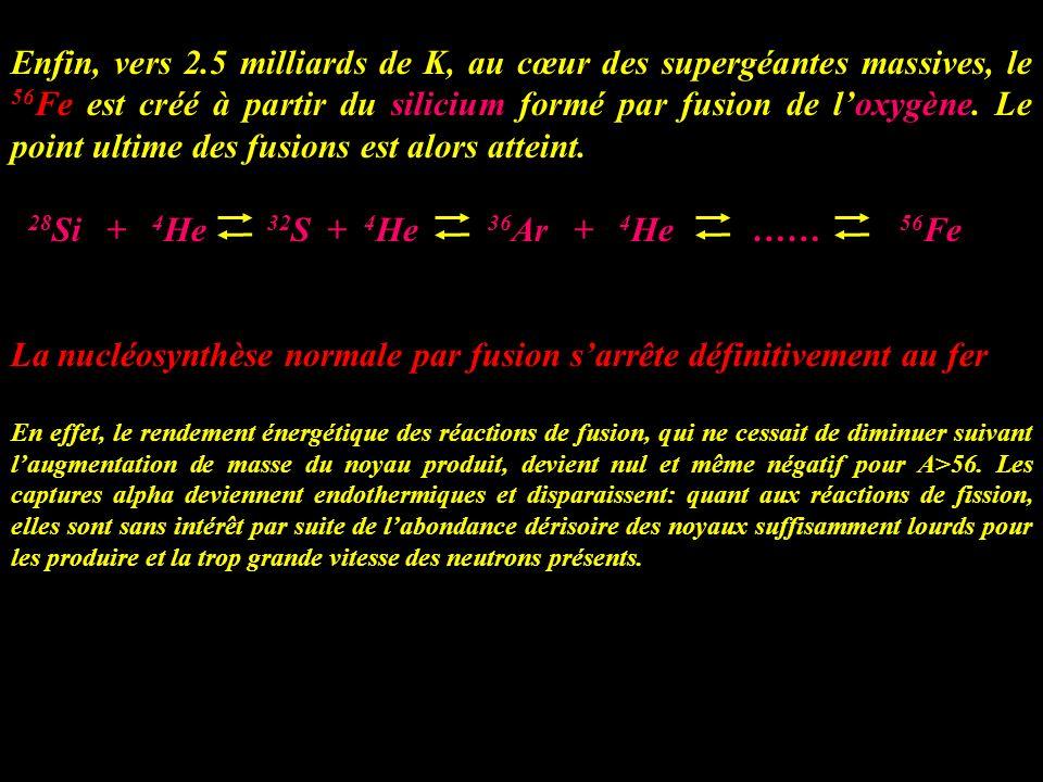 Enfin, vers 2.5 milliards de K, au cœur des supergéantes massives, le 56 Fe est créé à partir du silicium formé par fusion de loxygène. Le point ultim