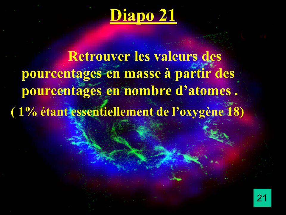 Diapo 21 Retrouver les valeurs des pourcentages en masse à partir des pourcentages en nombre datomes. ( 1% étant essentiellement de loxygène 18) 21