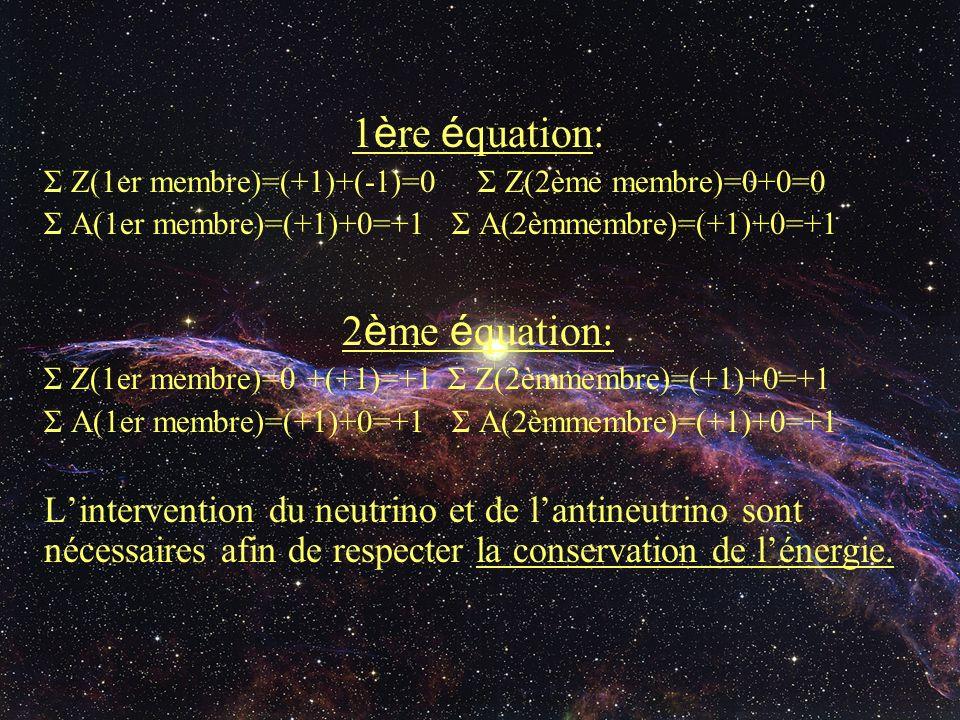 1 è re é quation: Σ Z(1er membre)=(+1)+(-1)=0 Σ Z(2ème membre)=0+0=0 Σ A(1er membre)=(+1)+0=+1 Σ A(2èmmembre)=(+1)+0=+1 2 è me é quation: Σ Z(1er memb
