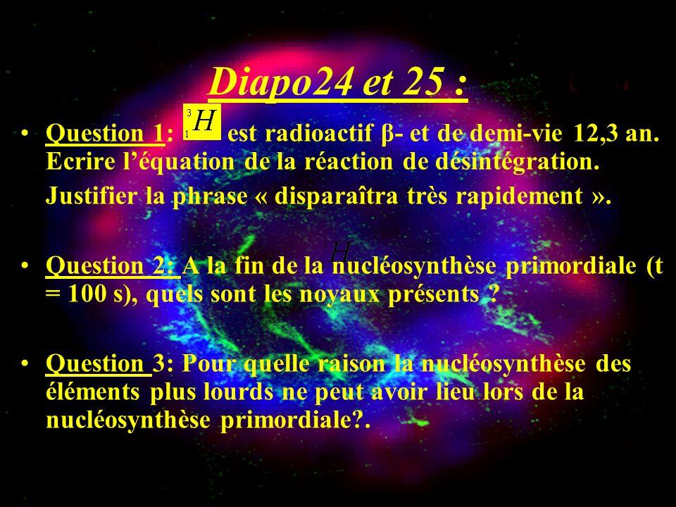 Diapo24 et 25 : Question 1: est radioactif β- et de demi-vie 12,3 an. Ecrire léquation de la réaction de désintégration. Justifier la phrase « dispara
