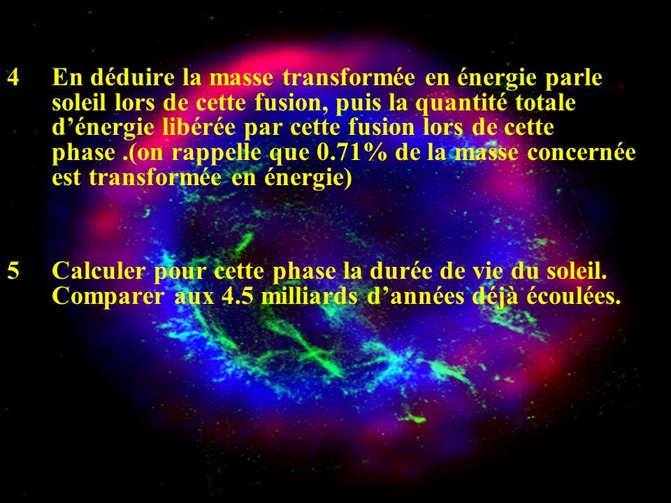 4 En déduire la masse transformée en énergie parle soleil lors de cette fusion, puis la quantité totale dénergie libérée par cette fusion lors de cett