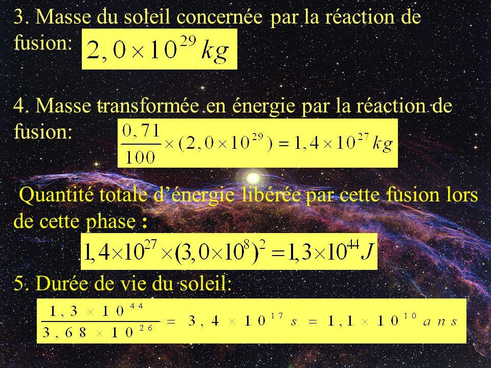 3. Masse du soleil concernée par la réaction de fusion: 4. Masse transformée en énergie par la réaction de fusion: Quantité totale dénergie libérée pa