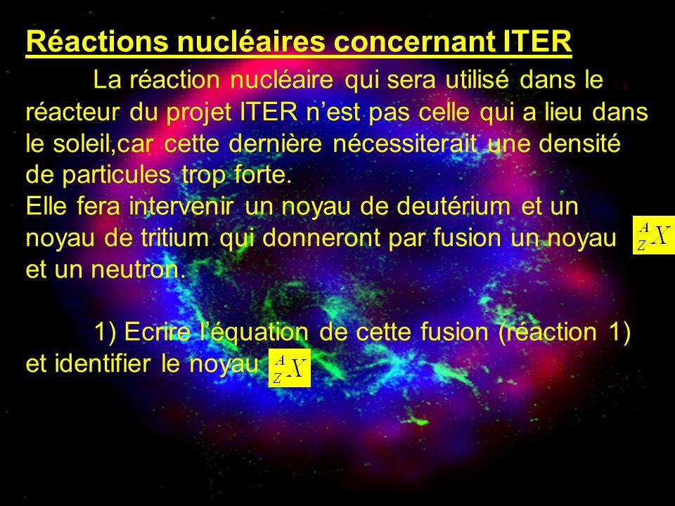 Réactions nucléaires concernant ITER La réaction nucléaire qui sera utilisé dans le réacteur du projet ITER nest pas celle qui a lieu dans le soleil,c