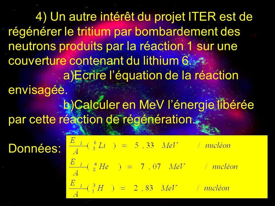 4) Un autre intérêt du projet ITER est de régénérer le tritium par bombardement des neutrons produits par la réaction 1 sur une couverture contenant d