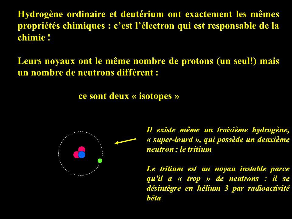 Hydrogène ordinaire et deutérium ont exactement les mêmes propriétés chimiques : cest lélectron qui est responsable de la chimie ! Leurs noyaux ont le