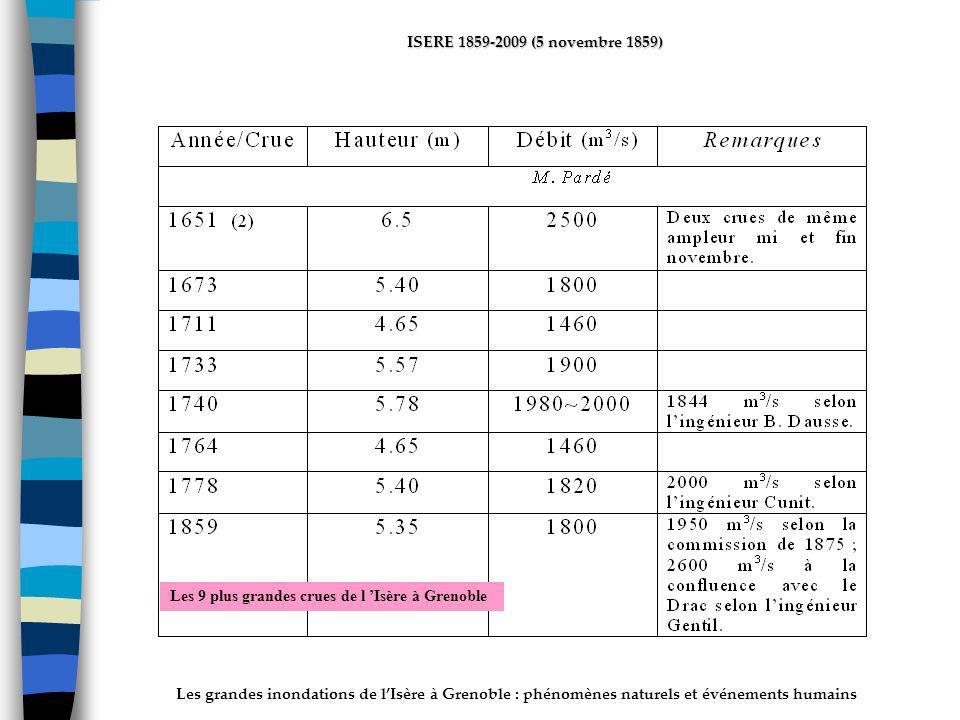 Les grandes inondations de lIsère à Grenoble : phénomènes naturels et événements humains ISERE 1859-2009 (5 novembre 1859) Les 9 plus grandes crues de