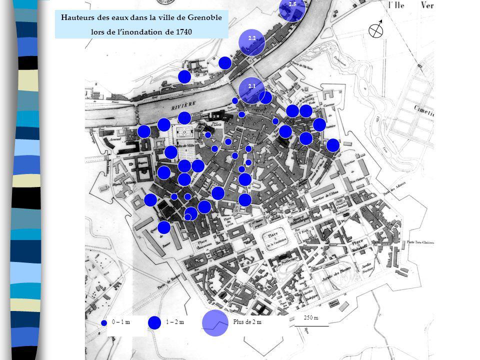 Les grandes inondations de lIsère à Grenoble : phénomènes naturels et événements humains ISERE 1859-2009 (5 novembre 1859) 0 – 1 m1 – 2 mPlus de 2 m 2.5 2.1 2.2 250 m Hauteurs des eaux dans la ville de Grenoble lors de linondation de 1740