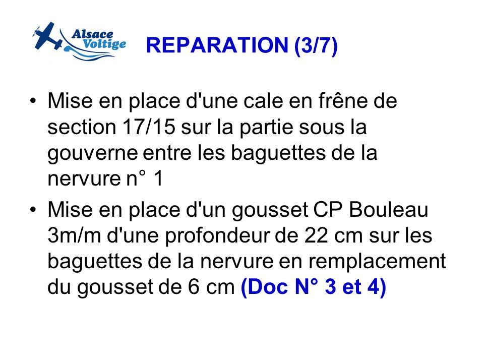 REPARATION (3/7) Mise en place d'une cale en frêne de section 17/15 sur la partie sous la gouverne entre les baguettes de la nervure n° 1 Mise en plac
