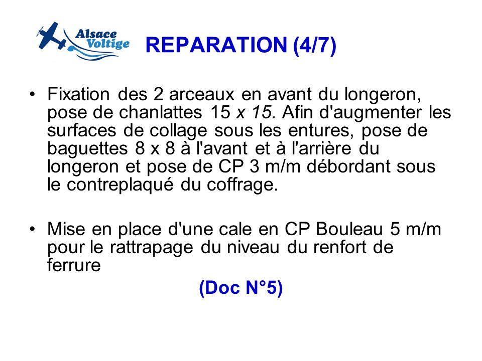 REPARATION (4/7) Fixation des 2 arceaux en avant du longeron, pose de chanlattes 15 x 15. Afin d'augmenter les surfaces de collage sous les entures, p