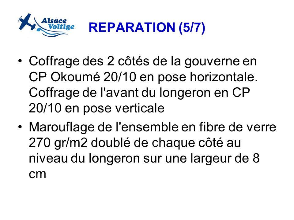 REPARATION (5/7) Coffrage des 2 côtés de la gouverne en CP Okoumé 20/10 en pose horizontale. Coffrage de l'avant du longeron en CP 20/10 en pose verti