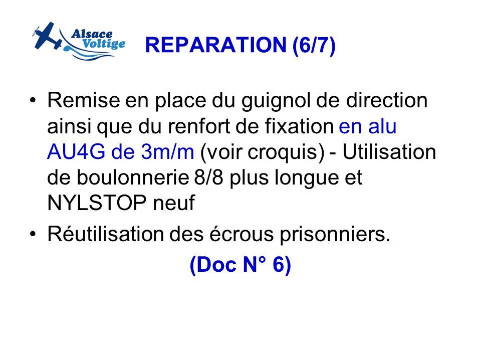 REPARATION (6/7) Remise en place du guignol de direction ainsi que du renfort de fixation en alu AU4G de 3m/m (voir croquis) - Utilisation de boulonne