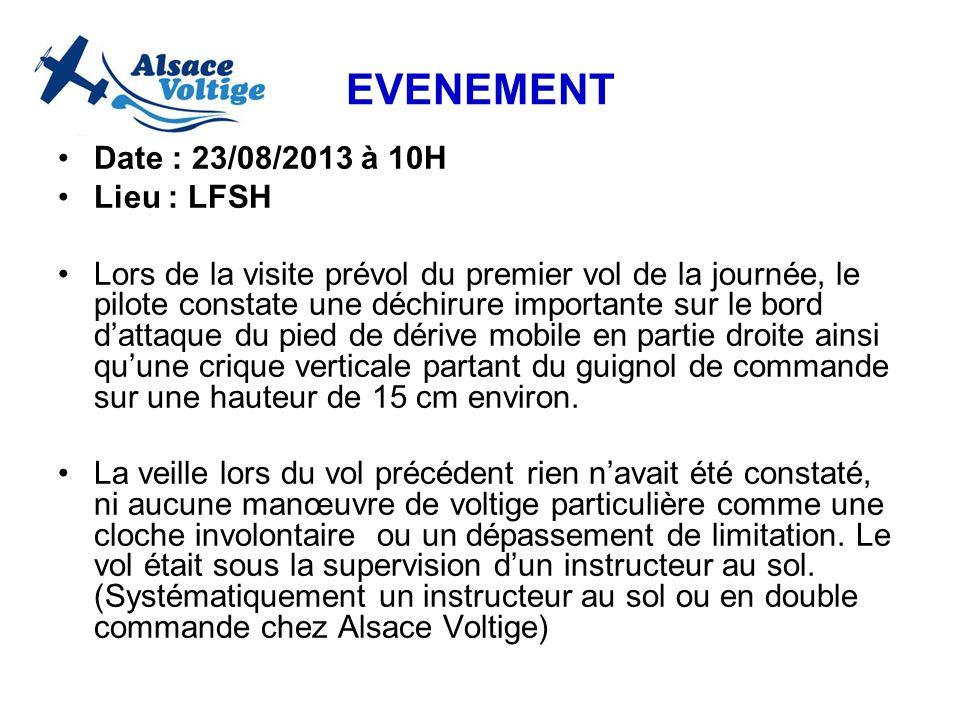 EVENEMENT Date : 23/08/2013 à 10H Lieu : LFSH Lors de la visite prévol du premier vol de la journée, le pilote constate une déchirure importante sur l