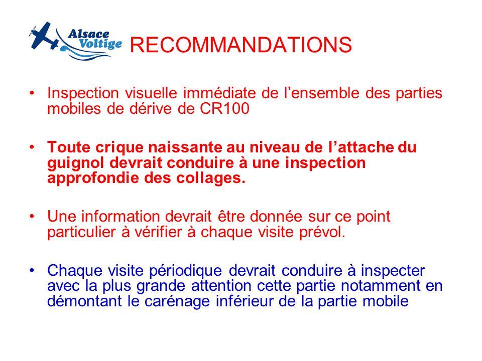 RECOMMANDATIONS Inspection visuelle immédiate de lensemble des parties mobiles de dérive de CR100 Toute crique naissante au niveau de lattache du guig