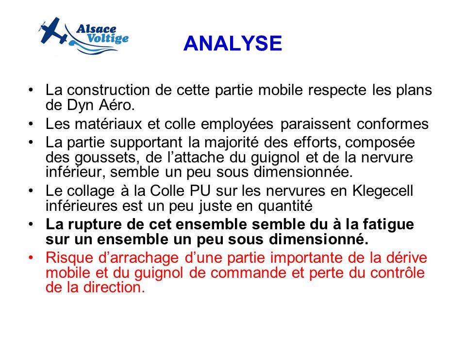 ANALYSE La construction de cette partie mobile respecte les plans de Dyn Aéro. Les matériaux et colle employées paraissent conformes La partie support
