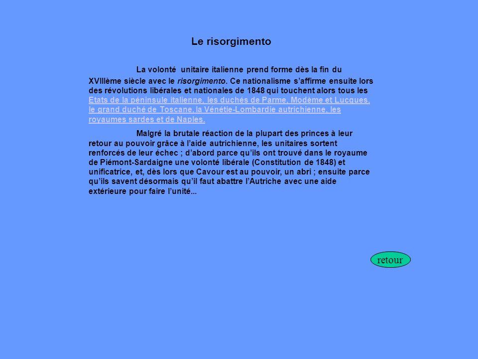 Le risorgimento La volonté unitaire italienne prend forme dès la fin du XVIIIème siècle avec le risorgimento. Ce nationalisme saffirme ensuite lors de