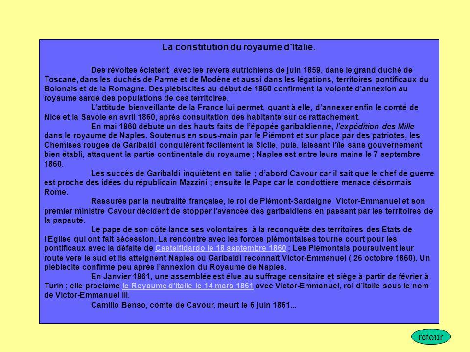 La constitution du royaume dItalie. Des révoltes éclatent avec les revers autrichiens de juin 1859, dans le grand duché de Toscane, dans les duchés de