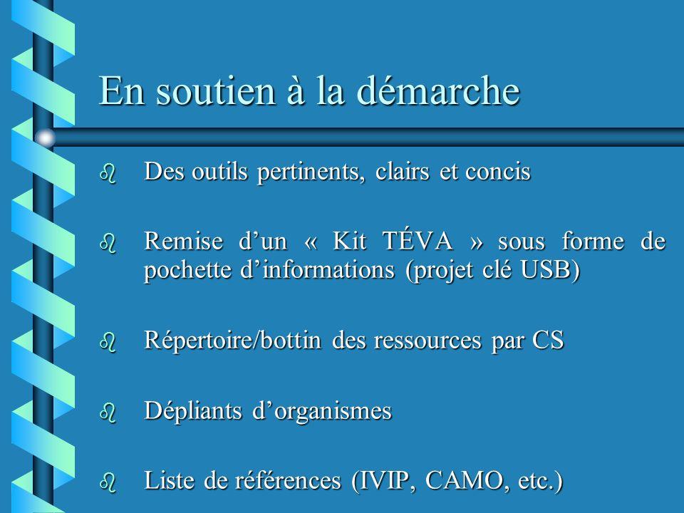 En soutien à la démarche b Des outils pertinents, clairs et concis b Remise dun « Kit TÉVA » sous forme de pochette dinformations (projet clé USB) b Répertoire/bottin des ressources par CS b Dépliants dorganismes b Liste de références (IVIP, CAMO, etc.)