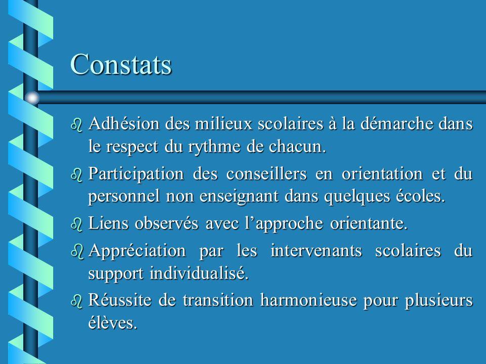 Constats b Adhésion des milieux scolaires à la démarche dans le respect du rythme de chacun.