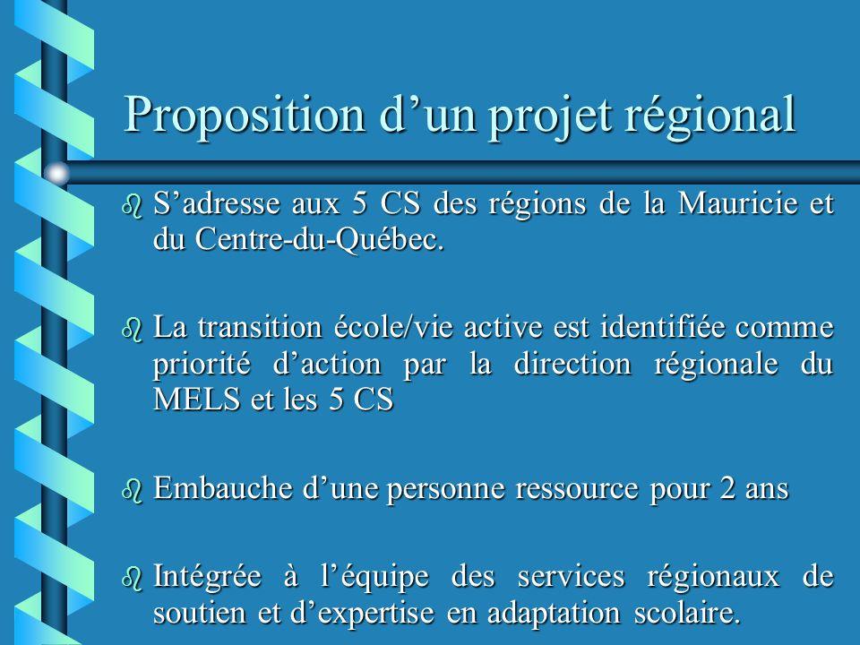 Proposition dun projet régional b Sadresse aux 5 CS des régions de la Mauricie et du Centre-du-Québec.