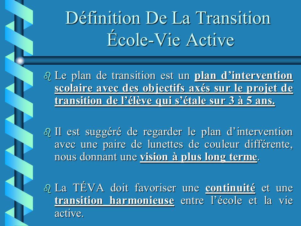 Définition De La Transition École-Vie Active b Le plan de transition est un plan dintervention scolaire avec des objectifs axés sur le projet de transition de lélève qui sétale sur 3 à 5 ans.