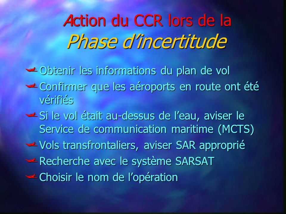 Action du CCR lors de la Phase dincertitude Action du CCR lors de la Phase dincertitude Obtenir les informations du plan de vol Obtenir les informatio