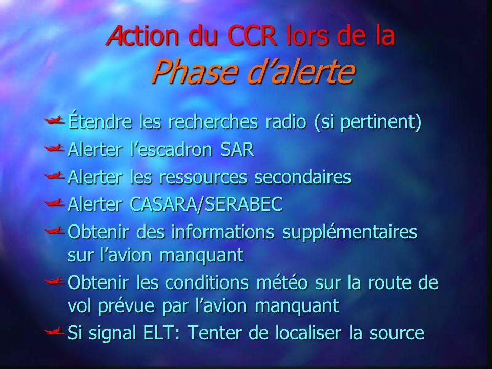 Action du CCR lors de la Phase dalerte Étendre les recherches radio (si pertinent) Étendre les recherches radio (si pertinent) Alerter lescadron SAR A