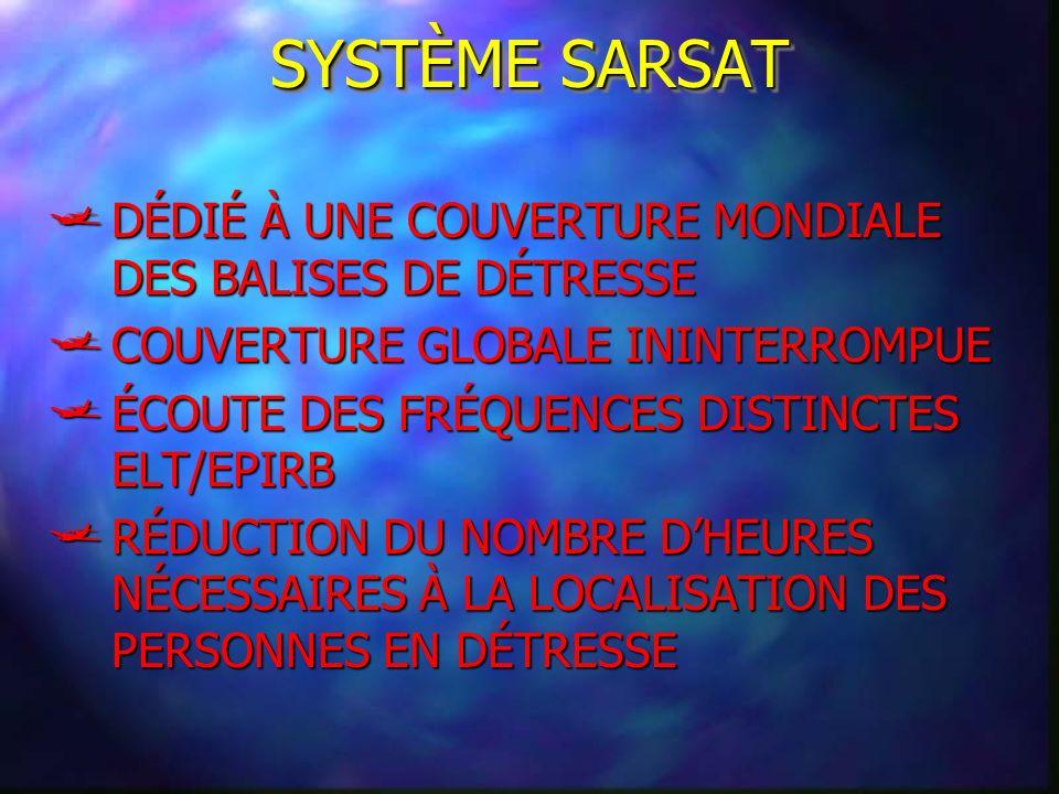 SYSTÈME SARSAT DÉDIÉ À UNE COUVERTURE MONDIALE DES BALISES DE DÉTRESSE DÉDIÉ À UNE COUVERTURE MONDIALE DES BALISES DE DÉTRESSE COUVERTURE GLOBALE ININ