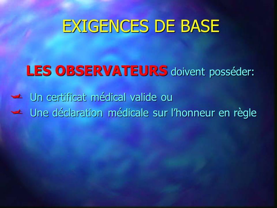 EXIGENCES DE BASE Un certificat médical valide ou Un certificat médical valide ou Une déclaration médicale sur lhonneur en règle Une déclaration médic