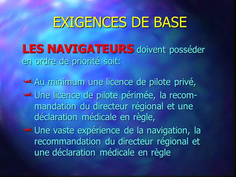 EXIGENCES DE BASE Au minimum une licence de pilote privé, Au minimum une licence de pilote privé, Une licence de pilote périmée, la recom- mandation d