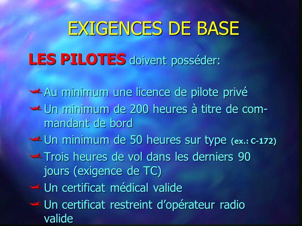EXIGENCES DE BASE Au minimum une licence de pilote privé Au minimum une licence de pilote privé Un minimum de 200 heures à titre de com- mandant de bo